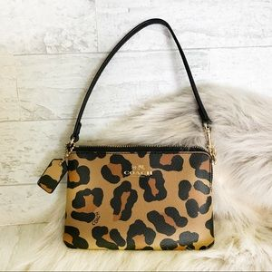 COACH Mini Leopard Wristlet Bag